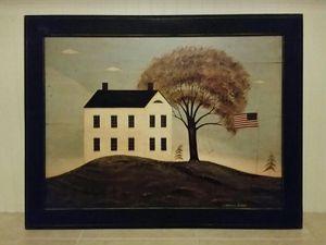 "Big, Framed ""House with Flag"" by Warren Kimble -- Folk Art for Sale in SANTA RSA BCH, FL"