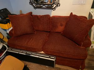 Red Bernhardt love seat couch with slip cover for Sale in Surprise, AZ