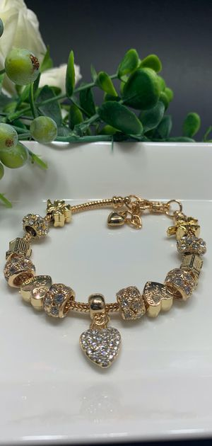 18K Gold Plated Austrian Crystal Rhinestone Star Love Heart Charm Bracelet for Sale in Tustin, CA