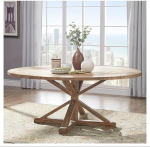 """Extra large """"New in Box"""" Sierra Round Farmhouse Pedestal Base Wood Dining Table 72"""" Vintage Pine seats up to 8 for Sale in Boca Raton, FL"""