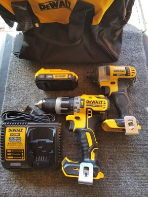 Dewalt 20vol XR hammer drill 20vol MAX impact drill 2.0 battery charger and bag for Sale in Rialto, CA
