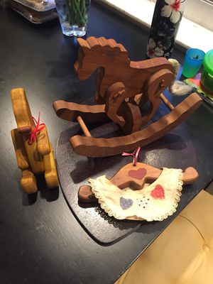 Wooden teddy bear, horse and hanger for Sale in Pompano Beach, FL
