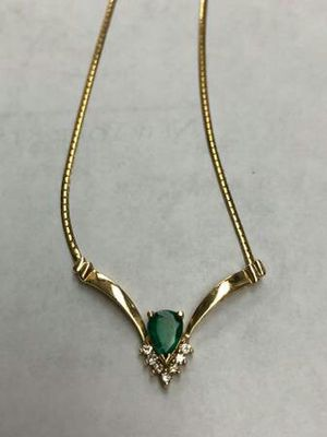 14k yellow gold diamond emerald necklace for Sale in Jacksonville, FL