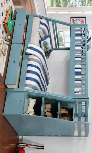 🍒   $39 Down -   Best Offer    🍒 SPECIAL] Merlin Light Blue Twin over Full Staircase Bunk Bed with 2 Storage Drawers | 9062 for Sale in Houston, TX
