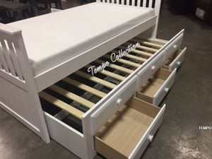 NEW IN THE BOX. TWIN CAPTAIN BED WITH TRUNDLE AND DRAWERS, WHITE , SKU# TC7590-WH for Sale in Santa Ana, CA