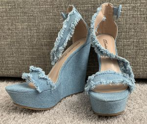 Fringed Jean Wedge Heels for Sale in Sun City Center, FL
