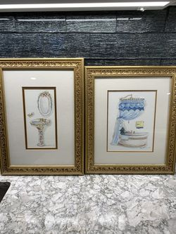 Beautiful Peggy Abrams Powder Room framed and matted decor for Sale in Smithtown,  NY