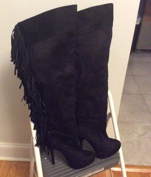 Black suede fringe knee high boots for Sale in Romulus, MI