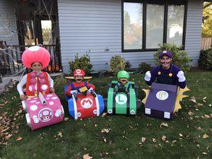 4 Super Mario Kart Costume and 4 cardboard Karts for Sale in Hillsboro, OR
