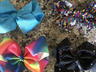 Large Full Size Jojo Siwa Bows Rainbow Black Blue Sequins for Sale in Riverside,  CA