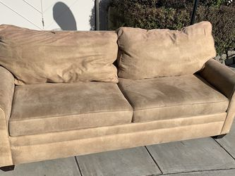Tan Suede Sofa With Pullout Queen Mattress for Sale in Oakland,  CA