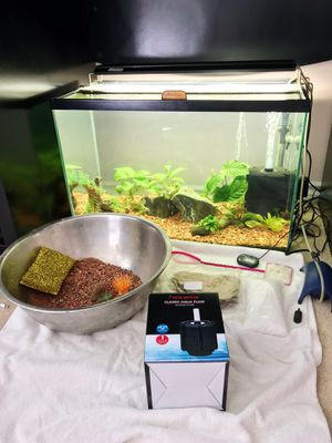 Bundle Lot for Fish Tank Aquariums EVERYTHING INCLUDED! (Gravel Substrate, Sponge Filter, Thermometer, Heater, Plants, etc) for Sale in Garden Grove, CA