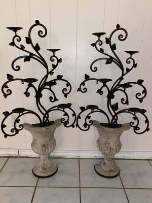 Elegant 6 pillar metal & concrete free standing candle holder for Sale in Norman, OK