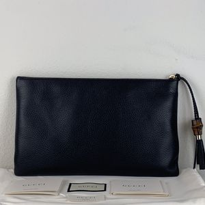 NWT Gucci Braided Tassel Bamboo Large Calf Leather Zip Clutch Pouch 449653 $990 for Sale in Los Angeles, CA