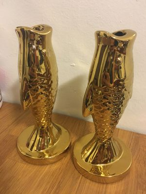 Gold Fish Taper Candle Holders for Sale in Los Angeles, CA