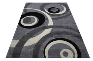 5x7 area rug silver grey black white circles design modern area rug new for Sale in Beverly Hills, CA