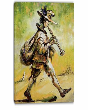 Designate pt6041 40x20 Wondering Troubadour with pipe music canvas for Sale in West Orange, NJ