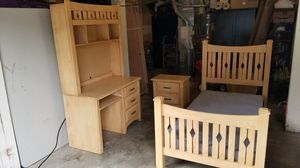 Twin Bedroom Bed Frame Desk Set for Sale in Maple Valley, WA