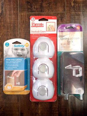 New BABY 3 doorknob Cover • 11 Toddler cabinet locks • child safety for Sale in Anaheim, CA
