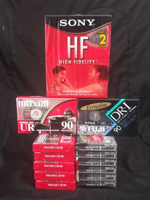 Lot of 15 New Sealed 90 Minute Audio Cassette Tapes 6 Maxell 7 Fuji Sony 2 Pack for Sale, used for sale  Dallas, TX