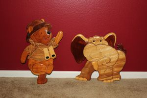 Winnie the Pooh and Elephant wooden wall decor for Sale in Corona, CA