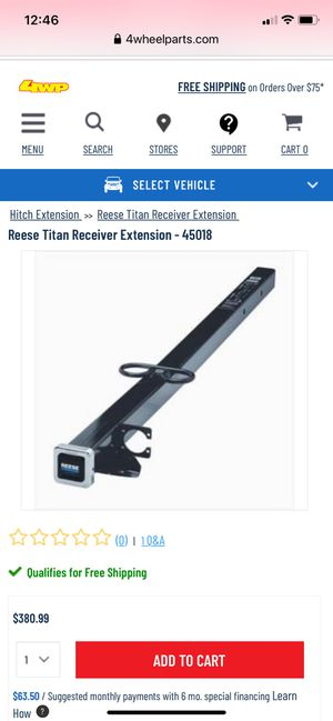 Reese Titan Receiver Extension for Sale in Murrieta, CA