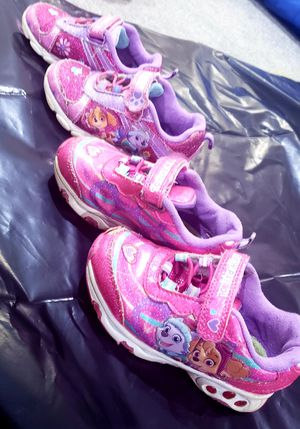 2 pairs of girls light up paw patroll sneakers size 8 for Sale in Alexandria, VA