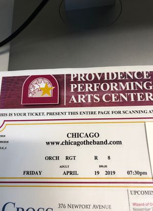 Chicago (the band) 2 tix for Sale in Waltham, MA