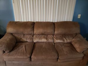 Brown micro suede couch set excellent condition for Sale in Margate, FL