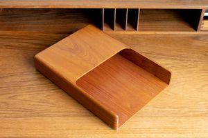 Teak Paper Tray Organizer Mid-Century Modern Copenhagen Desk Top Tray for Sale in Peoria, AZ