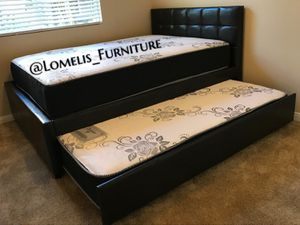 FULL/TWIN TRUNDLE BEDS W ORTHOPEDIC MATTRESS INCLUDED for Sale in Highland, CA