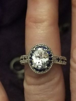 Beautiful 925 silver white sapphire and black sapphire ring size 6. for Sale in Salt Lake City, UT