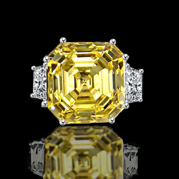 12CT intense yellow Canary Asscher cut Diamond Veneer center vintage style set in Sterling Silver ring. 635R71577