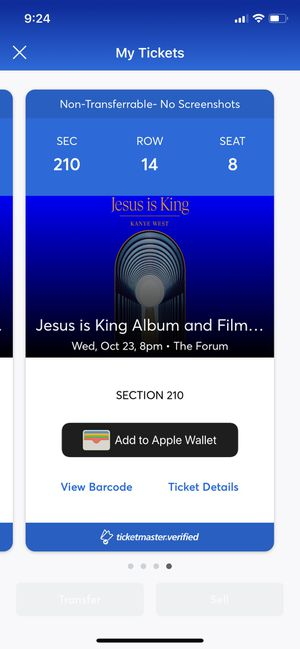 Jesus Is King Album And Film Experience Kanye West The Forum CA 10/23 4 Tickets for Sale in Inglewood, CA