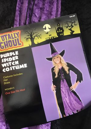 Purple spider witch Halloween costume- Hat and dress included one size fits most- pick up at Thompson Park Southport for Sale in Indianapolis, IN