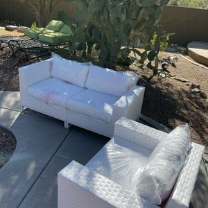 Patio Couch And Club Chair. Brand New. Clearing out All Of My Staging Furniture for Sale in Carefree, AZ