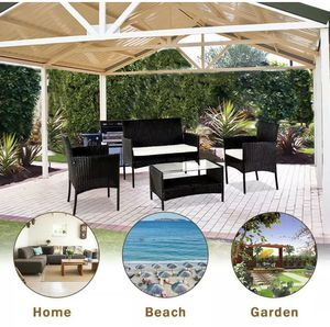 4PC Outdoor Rattan Wicker Furniture Set Patio PE Cushioned Couch Loveseat Table for Sale in Chicago, IL