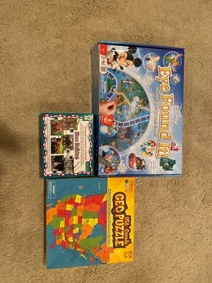 Geo puzzle ,photographic learning zoo babies with lacing cards, eye found it game for Sale in Hanover Park, IL