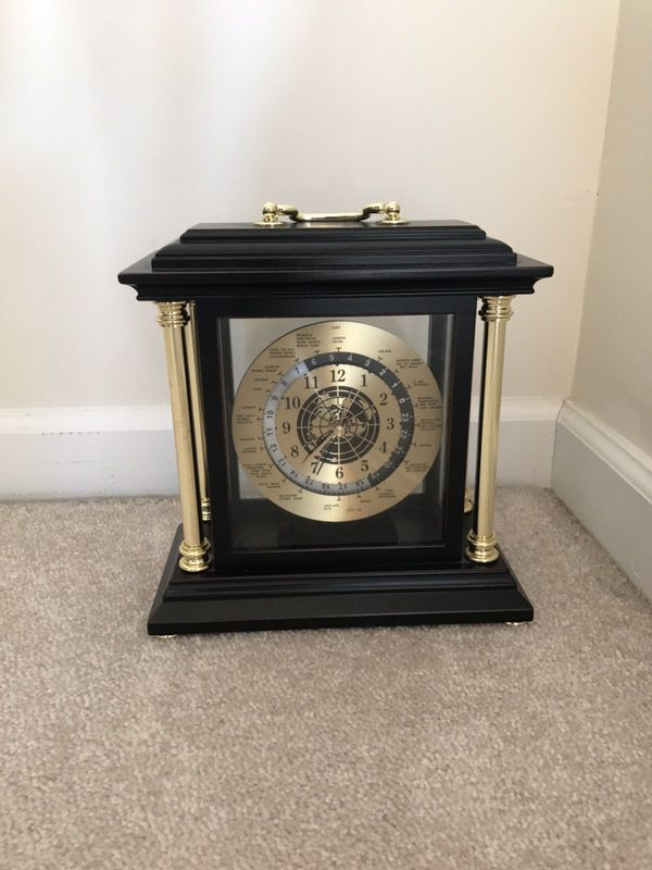 Bombay Company Brass and brown mantle clock