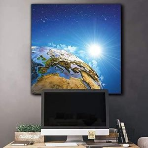 ((FREE SHIPPING)) intricate illustration of planet earth with the rays of the sun illuminating it from outerspace - canvas art Painting like print for Sale in Albany, CA
