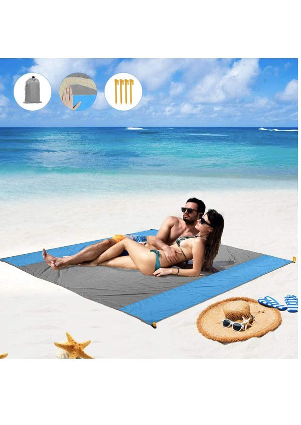 Beach Blanket, Sand Free Beach Picnic Outdoor Mat- Large 78'' x 82'' - Pocket Portable Waterproof Soft Fast Drying Nylon Oversize Blanket for Travel