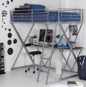 Metal loft bed and desk for Sale in Warner Robins, GA