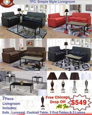 7 piece living room for Sale in Tinley Park, IL