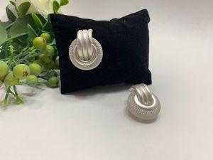 Multi Layer Metal Round Hoop Earrings, White/Silver for Sale in Tustin, CA