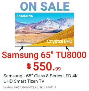 Samsung 65 inch TU 8000 Series Crystal UHDTV model 2020 on sale with warranty for Sale in Smyrna, GA