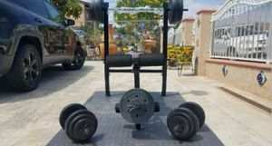 Standard width bench presss with bar, leg developer, curl barbell, 2x dumbbell handles , 2x25 2x15 2x10 4x5 4x2.5 4x1.5 NEW for Sale in Montebello, CA