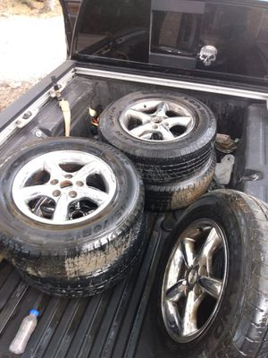 Jeep 17 inch rims and tires 80% tread for Sale in San Antonio, TX