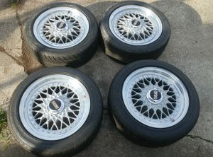 """Staggered BBS RS 15"""" 4x100 wheels and tires for Sale in Des Moines, WA"""