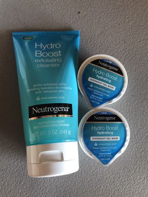 Neutrogena hydro boost exfoliating cleanser and gel mask for Sale in Stockton, CA