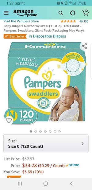 Baby Diapers Newborn/Size 0 (< 10 lb), 120 Count - Pampers Swaddlers for Sale in Clovis, CA